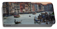 Grand Canal Gondolier Venice Italy Sunset Portable Battery Charger