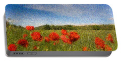 Grassland And Red Poppy Flowers 3 Portable Battery Charger