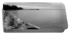 Gray Day On The Bay Portable Battery Charger
