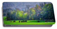 Portable Battery Charger featuring the digital art Grazing Horses by Edmund Nagele