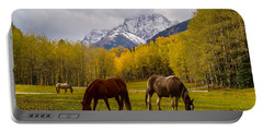 Portable Battery Charger featuring the photograph Grazing In Aspen by Jacqueline Faust