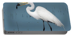 Great Egret With Fish Portable Battery Charger