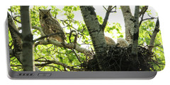 Great Horned Owl And Babies Portable Battery Charger