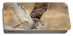 Great Horned Owl In Flight Portable Battery Charger