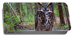 Great Horned Owl Standing On A Tree Log Portable Battery Charger