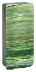 Green Abstract Meditative Brush Strokes I Portable Battery Charger