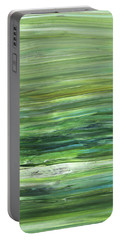 Green Abstract Meditative Brush Strokes II Portable Battery Charger