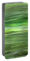 Green Abstract Meditative Brush Strokes IIi Portable Battery Charger