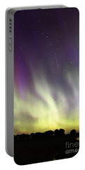 Green And Purple Fire In The Sky Portable Battery Charger