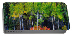 Portable Battery Charger featuring the photograph Green Aspens Red Bushes by Tom Gresham