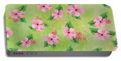 Green Batik Tropical Multi-foral Print Portable Battery Charger