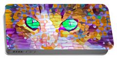 Green Eyed Cat Abstract Portable Battery Charger