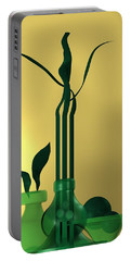Green Still Life Over Golden Background Portable Battery Charger