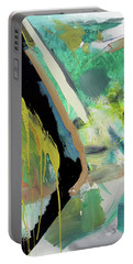 Portable Battery Charger featuring the painting Green Stripe by John Jr Gholson