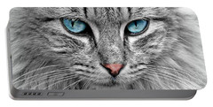 Grey Cat With Blue Eyes Portable Battery Charger