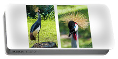 Grey Crowned Crane Gulf Shores Al Collage 8 Diptych Portable Battery Charger
