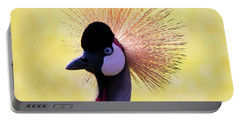 Portable Battery Charger featuring the painting Grey Crowned Crane Gulf Shores Bl A101218 by Mas Art Studio