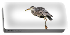 Grey Heron On Snow Portable Battery Charger