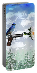 Bluebird Of Happiness- Flower In A Gun Portable Battery Charger
