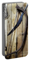 Hack Saw On Barn Wall Portable Battery Charger