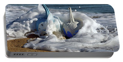 Portable Battery Charger featuring the photograph Halloween Blue And White Pumpkins In The Surf by Bill Swartwout Fine Art Photography