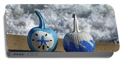 Portable Battery Charger featuring the photograph Halloween Blue And White Pumpkins On The Beach by Bill Swartwout Fine Art Photography