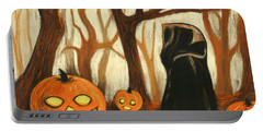 Portable Battery Charger featuring the painting Halloween Forest by Anastasiya Malakhova
