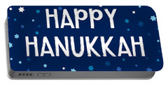 Happy Hanukkah Starry Night- Art By Linda Woods Portable Battery Charger
