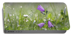 Harebells And Water Drops Portable Battery Charger