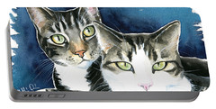 Harvey And Heidi Tabby Cat Painting Portable Battery Charger