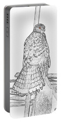 Portable Battery Charger featuring the photograph Hawk Photo Sketch by Debbie Stahre