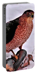 Portable Battery Charger featuring the photograph Hawk Takes Dove by Debbie Stahre