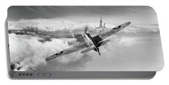 Portable Battery Charger featuring the photograph Hawker Hurricane Deflection Shot Bw Version by Gary Eason