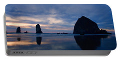 Haystack Rock At Dusk Portable Battery Charger