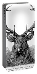 Head Of Red Deer, In Which The Antler Is Fully Developed And The Velvet Has Disappeared  Portable Battery Charger