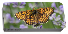 Heath Fritillary On The Lavender Portable Battery Charger