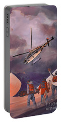 Portable Battery Charger featuring the painting Heliski by Sassan Filsoof