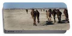 Herd Of Camels Crossing The Highway Near  Rissani Portable Battery Charger