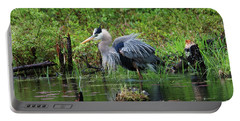 Heron In Beaver Pond Portable Battery Charger