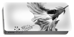 Hibiscus In Black And White Portable Battery Charger