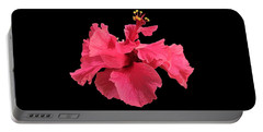 Hibiscus Pink In Black Portable Battery Charger