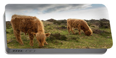 Highland Cattle Feeding At Baslow Edge Portable Battery Charger
