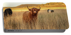 Highland Cows On The Farm Portable Battery Charger