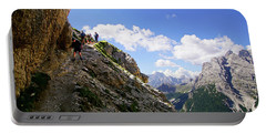 Hikers On Steep Trail Up Monte Piana Portable Battery Charger
