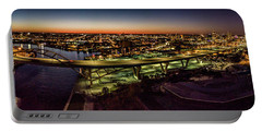 Portable Battery Charger featuring the photograph Hoan Bridge At Dusk Panorama by Randy Scherkenbach