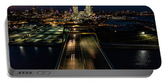 Portable Battery Charger featuring the photograph Hoan Bridge Streaks by Randy Scherkenbach