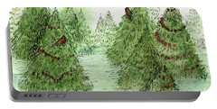 Holiday Trees Woodland Landscape Illustration Portable Battery Charger
