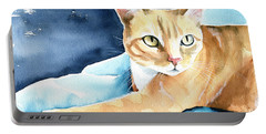Honey Ginger Tabby Cat Painting Portable Battery Charger