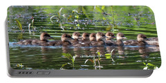 Hooded Merganser Ducklings Dwf0203 Portable Battery Charger