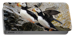 Horned Puffin Pair Portable Battery Charger
